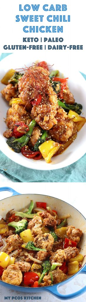 My PCOS Kitchen - Low Carb Sweet Chili Chicken - Gluten-free, nut-free and dairy-free fried chicken covered in a sugar-free low carb sweet chili thai sauce! #lowcarb #paleo #sweetchili #friedchicken
