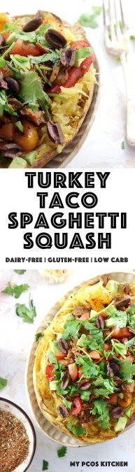 My PCOS Kitchen - Paleo Turkey Taco Spaghetti Squash - A great gluten-free and dairy-free dinner filled with leftover turkey from Thanksgiving cooked in taco spice. #glutenfree #paleo #lowcarb #taco