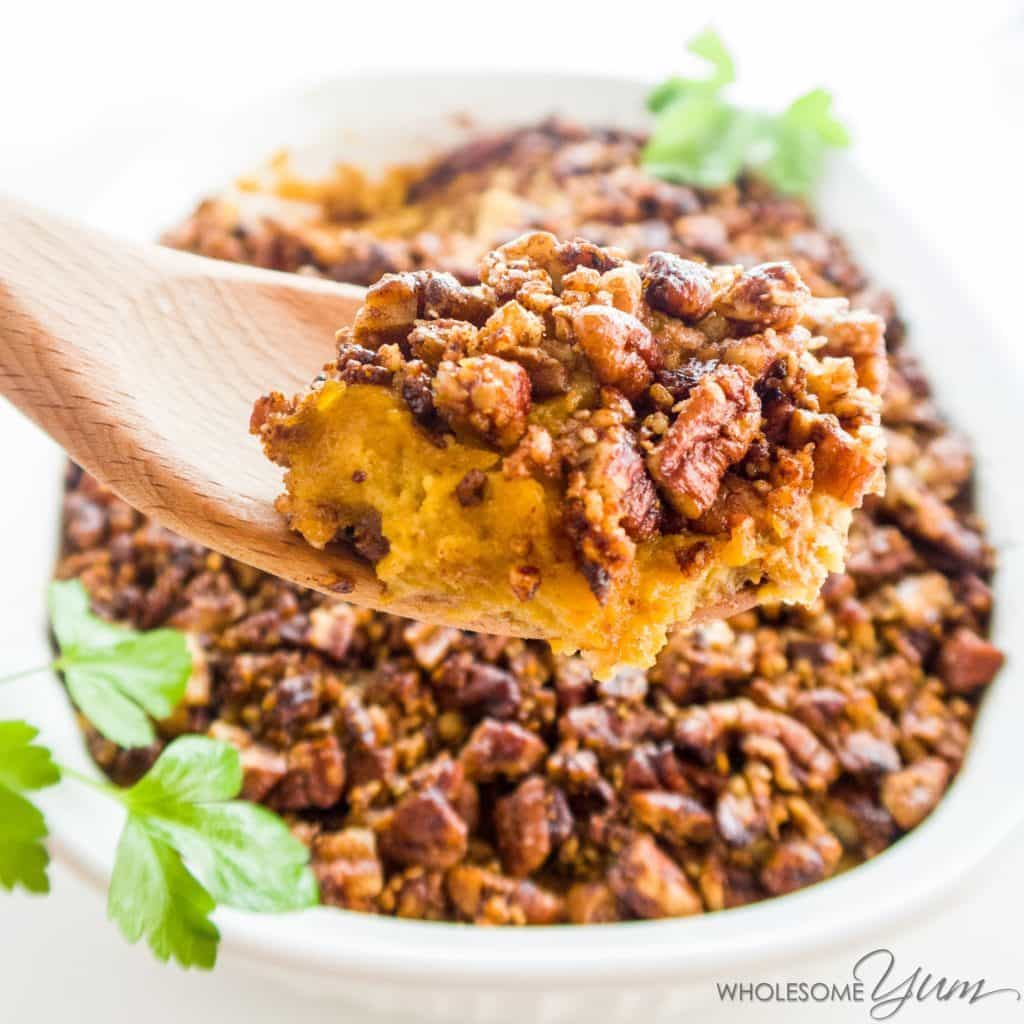 My PCOS Kitchen - Low Carb Yum - 40+ Low Carb Thanksgiving Recipes - Sweet Potato Casserole