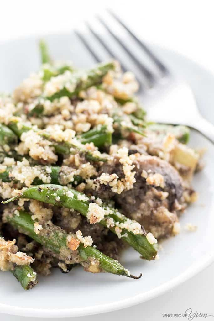 My PCOS Kitchen - Wholesome Yum - 40+ Low Carb Thanksgiving Recipes - Green Bean Casserole