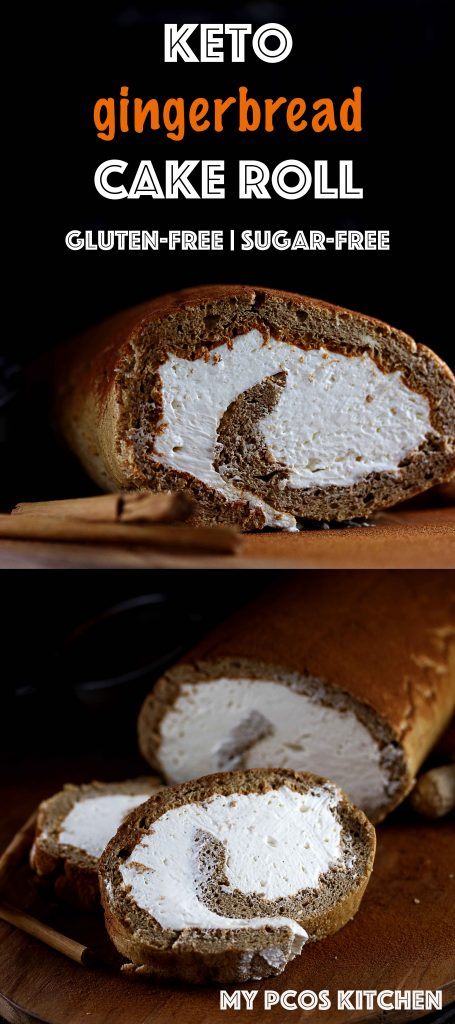 Keto Gingerbread Cake Roll - My PCOS Kitchen - A gluten-free and sugar-free fluffy cake roll filled with a cream cheese frosting! #keto #christmas #gingerbread #lowcarb #sugarfree #glutenfree