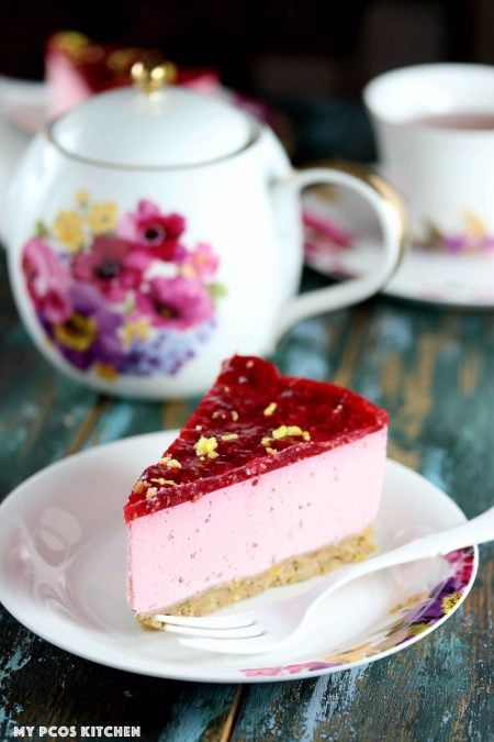 Low Carb No Bake Raspberry Lemon Cheesecake