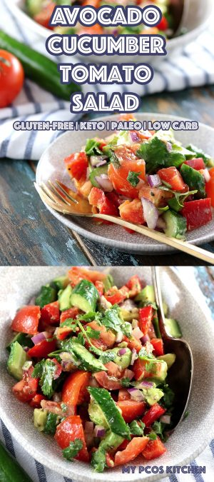 Low Carb Paleo Avocado Cucumber Tomato Salad - My PCOS Kitchen - A delicious sugar-free and gluten-free salad with a zesty cilantro dressing! The perfect keto side salad! #keto #paleo #avocado #salad #lowcarb #lchf