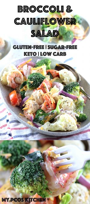 Amish Broccoli Cauliflower Salad with Shrimps - My PCOS Kitchen - A gluten-free salad that is keto and low carb approved. #lowcarb #keto #salad #glutenfree #sugarfree #cauliflower #broccoli #recipe