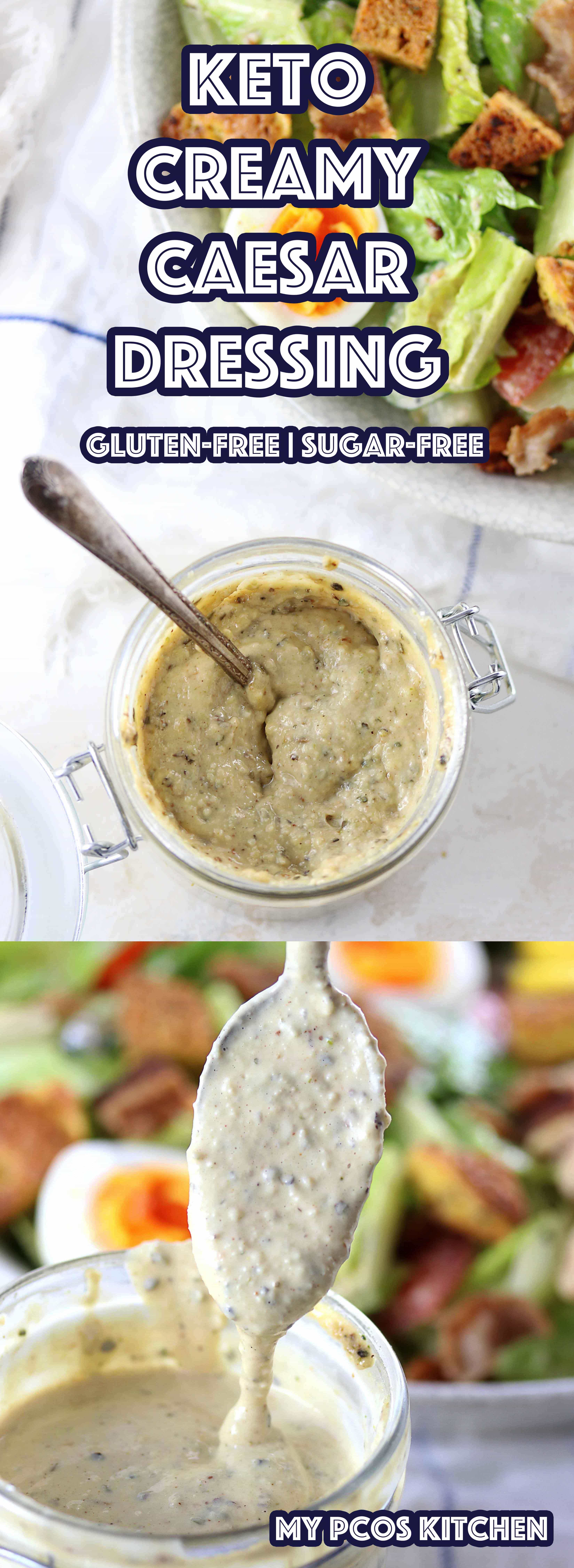 My PCOS Kitchen - Low Carb Homemade Caesar Salad Dressing - An easy and delicious homemade caesar dressing that's completely sugar-free and low carb! Paleo option available! #caesardressing #saladdressing #glutenfree #keto #lowcarb #lchf