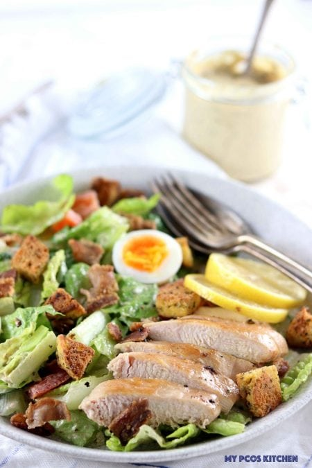 Low Carb Caesar Salad with Chicken - My PCOS Kitchen - A grilled chicken caesar salad that is completely keto and gluten free.