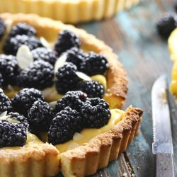 Low Carb Lemon Blackberry Tart - My PCOS Kitchen - A closeup shot of a slice of a sugar-free lemon tart.
