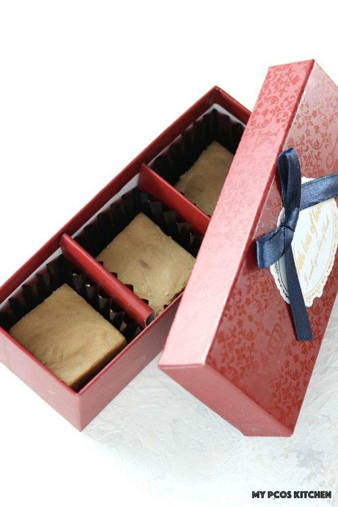 Low Carb Sugar Free Maple Fudge - My PCOS Kitchen - Three pieces of maple fudge in a red chocolate box for Valentine's Day.