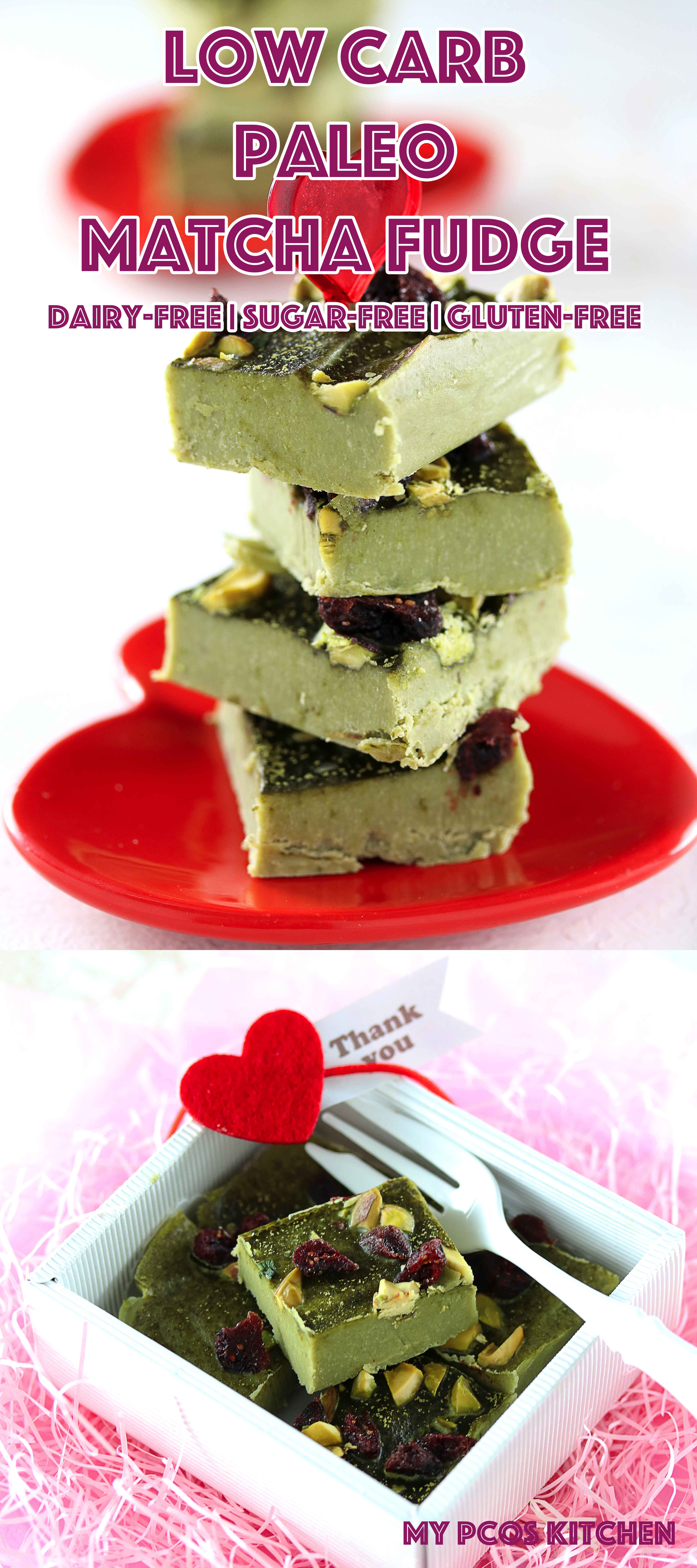 Low Carb Paleo Green Tea Matcha Fudge - My PCOS Kitchen - Great fat bombs that are completely dairy-free, sugar-free and gluten-free! #lowcarb #paleo #valentinesday #matcha