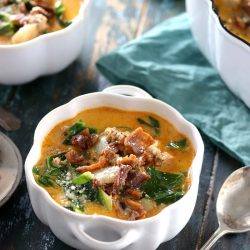 Low Carb Olive Garden Zuppa Toscana - My PCOS Kitchen - Creamy Italian soup in a white pumpkin ceramic bowl from Staub.