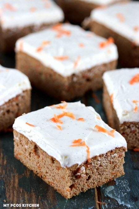 Sugar Free Carrot Cake - My PCOS Kitchen - Slices of keto carrot cake with cream cheese frosting.