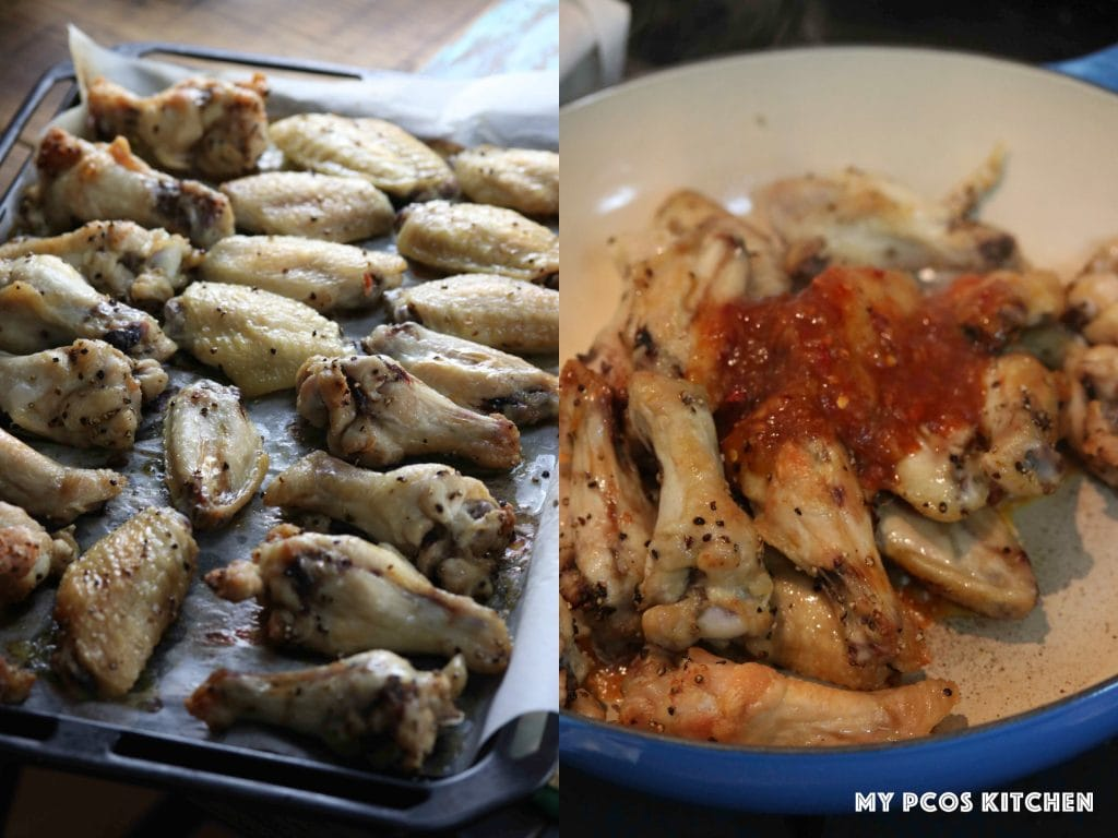 Sweet Chili Thai Chicken Wings - My PCOS Kitchen - Oven baked chicken wings, sweet chili thai sauce coated chicken wings.
