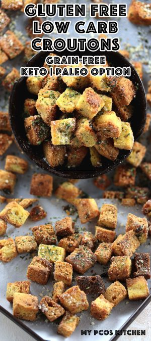 Low Carb Gluten Free Garlic Croutons - My PCOS Kitchen - These delicious garlic croutons are extremely crispy, buttery and full of flavour! Add them to any kind of salad for extra crisp! #lowcarb #glutenfree #keto #croutons #recipe #paleo #lchf