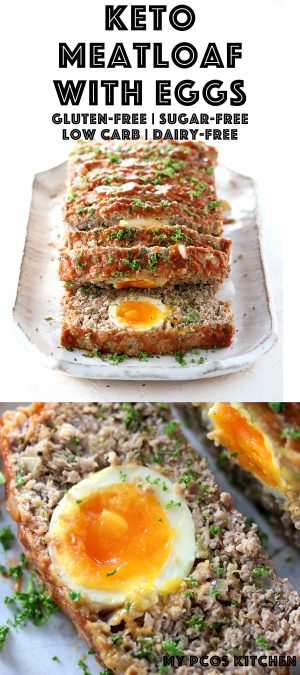 Keto Meatloaf with Eggs - My PCOS Kitchen - A delicious low carb meatloaf that's completely gluten-free and sugar-free! Stuffed with hard boiled eggs with soft yolks. #ketomeatloaf #lowcarb #meatloaf #glutenfree #lchf #keto #ketogenic