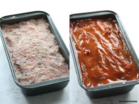 Keto Meatloaf with Eggs - My PCOS Kitchen - raw meatloaf batter inside a bread baking pan covered in ketchup.