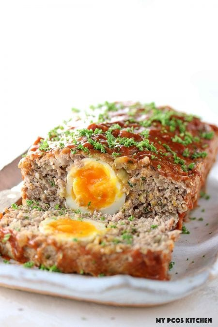 Keto Meatloaf with Eggs - My PCOS Kitchen - a low carb meatloaf stuffed with hard boiled eggs.