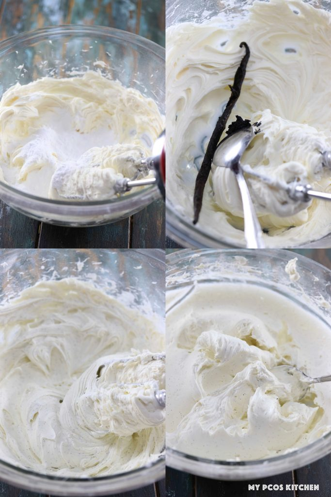 Steps showing how to make homemade cream cheese frosting.
