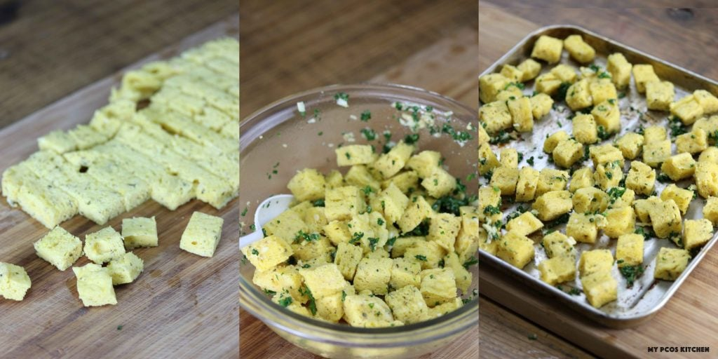 Low Carb Gluten Free Garlic Croutons - My PCOS Kitchen - Making low carb croutons using the 90 second bread recipe