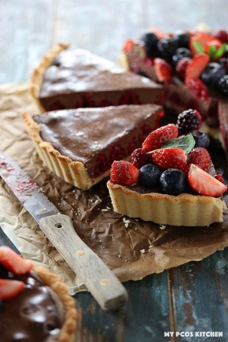 Low Carb No Bake Chocolate Tart with Raspberries - My PCOS Kitchen - A dairy free chocolate mousse in a pie crust filled with raspberries.