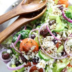 Authentic Greek Salad - My PCOS Kitchen - A healthy Greek salad dressing topped over this easy Greek salad recipe.