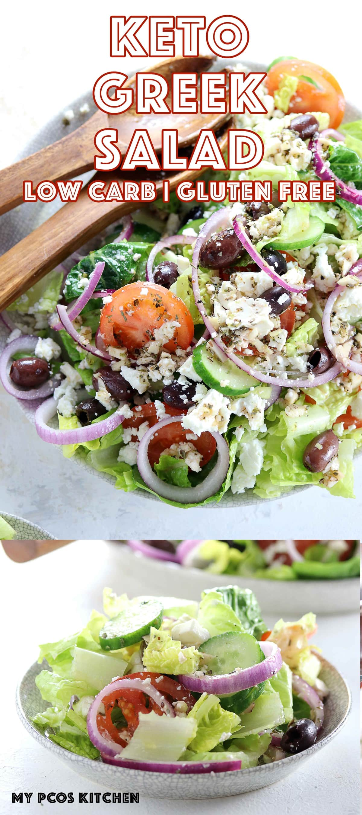 Authentic Greek Salad - My PCOS Kitchen - A delicious low carb and gluten free Greek salad topped with a homemade Greek salad dressing. #lowcarb #greeksalad #healthyeating #glutenfree salad #lchf