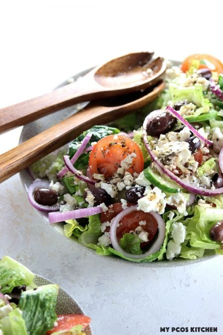 Authentic Greek Salad - My PCOS Kitchen -   Carbs in Greek salad mostly come from vegetables.