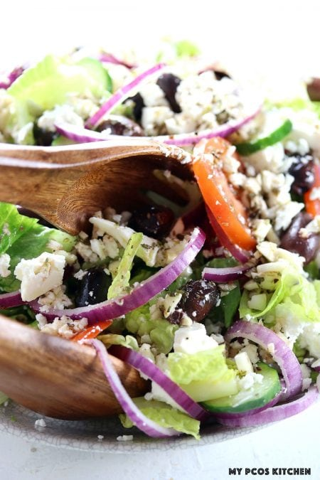 Authentic Greek Salad - My PCOS Kitchen -  A traditional Greek salad recipe made with healthy ingredients!