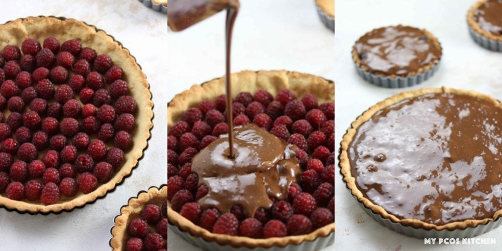 Low Carb No Bake Chocolate Tart with Raspberries - My PCOS Kitchen - how to make a raspberry chocolate tart.