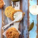 Low Carb Biscuits with Cheddar & Jalapeno - My PCOS Kitchen - jalapeno cheddar biscuits made with almond flour and sour cream.