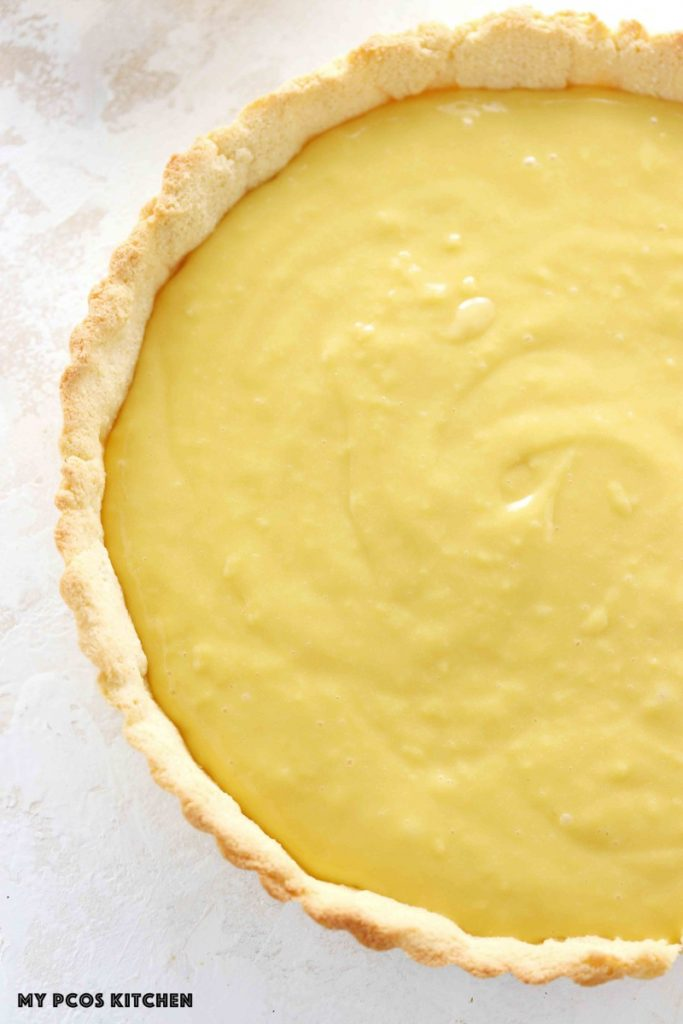 sugar free pastry cream filled in an almond flour pie crust.