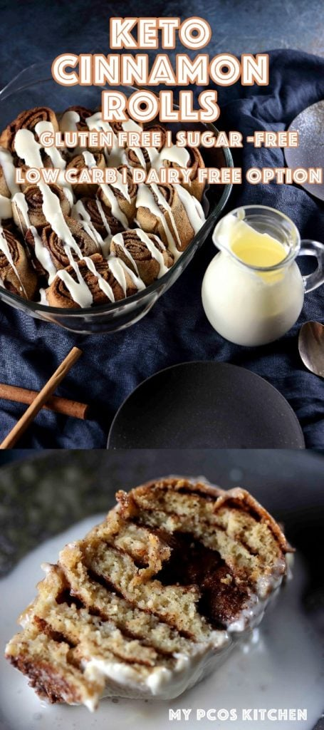 Sugar Free Low Carb Keto Cinnamon Rolls with a Dairy Free Option - My PCOS Kitchen - These delicious low carb cinnamon rolls are made with psyllium husk powder which keeps them gluten-free and low carb! #cinnamonrolls #lowcarbcinnamonrolls #sugarfreefrosting #sugarfreecinnamonrolls #ketocinnamonrolls #glutenfreebaking #ketorecipe #sugarfreerecipe #lowcarbdessert #cinnamon