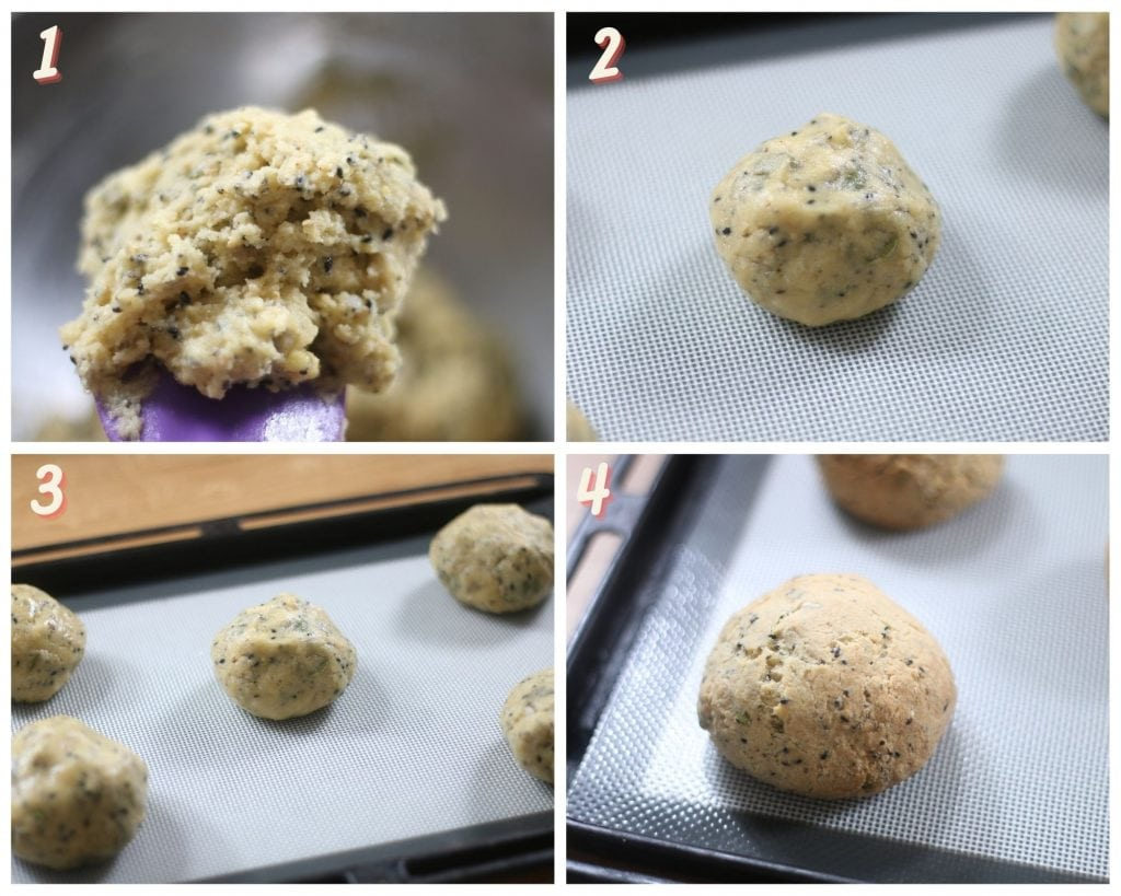 Images showing how to shape low carb buns.