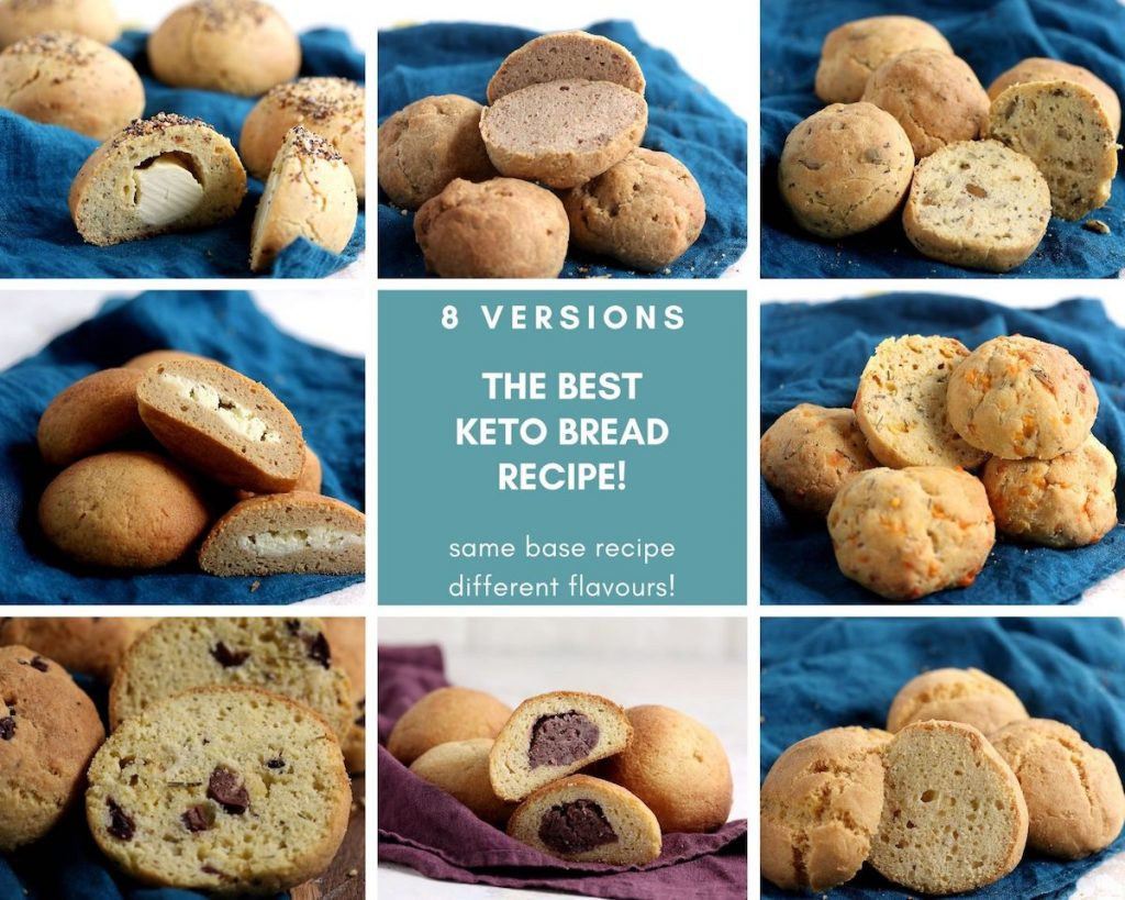 8 different variations of keto bread made with the same base recipe.