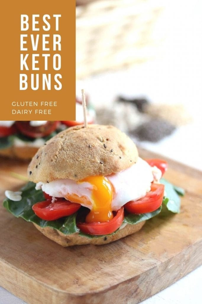 The Best Ever Keto Buns image showing a small sandwich.