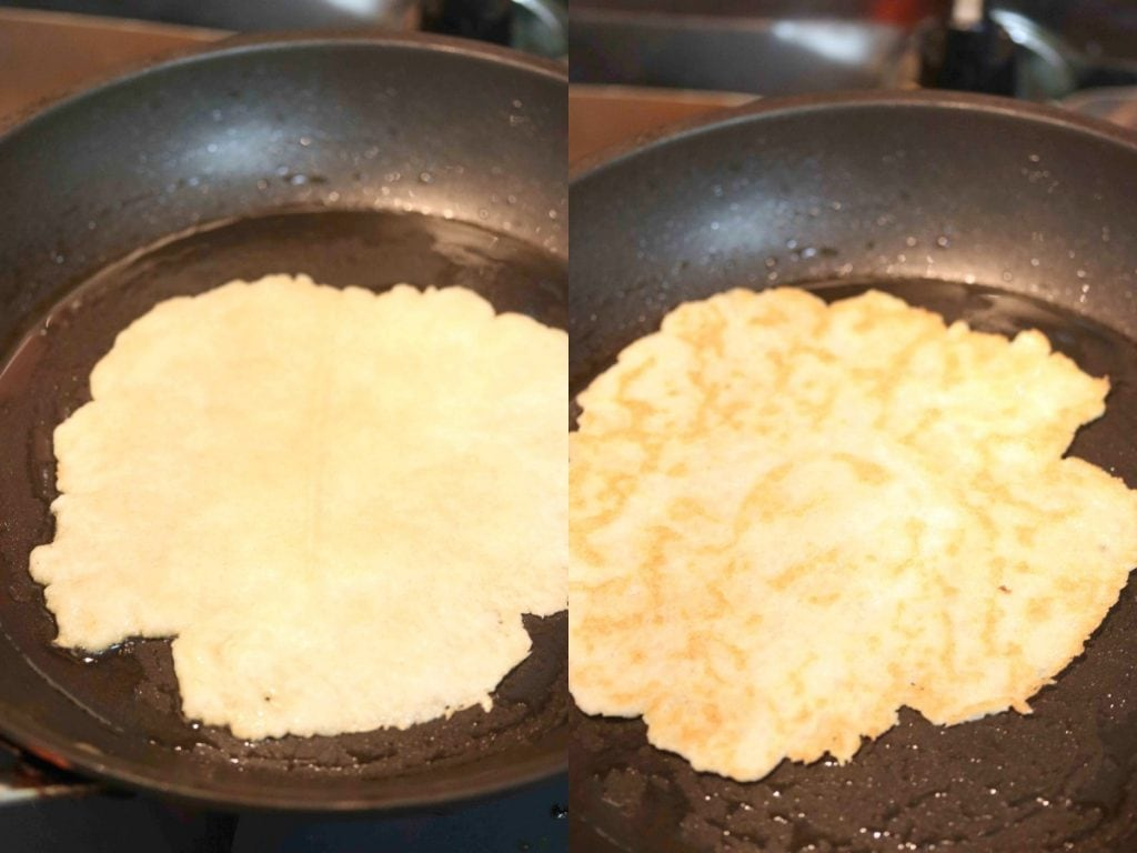 Baking almond flour tortillas in a frying pan.