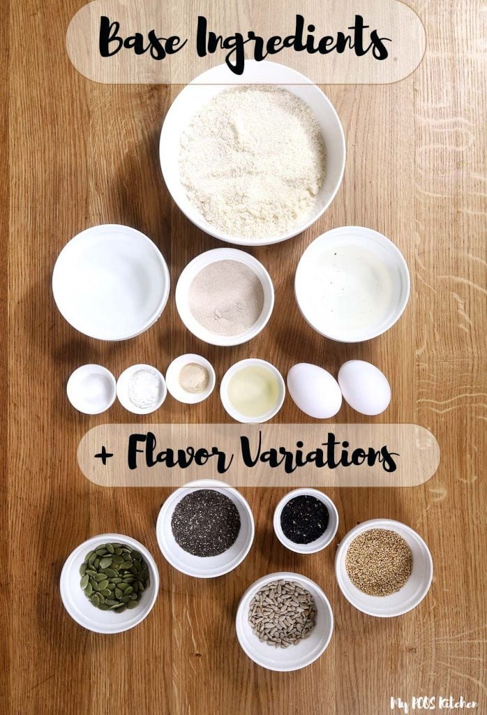 Ingredients for low carbs in small white bowls.
