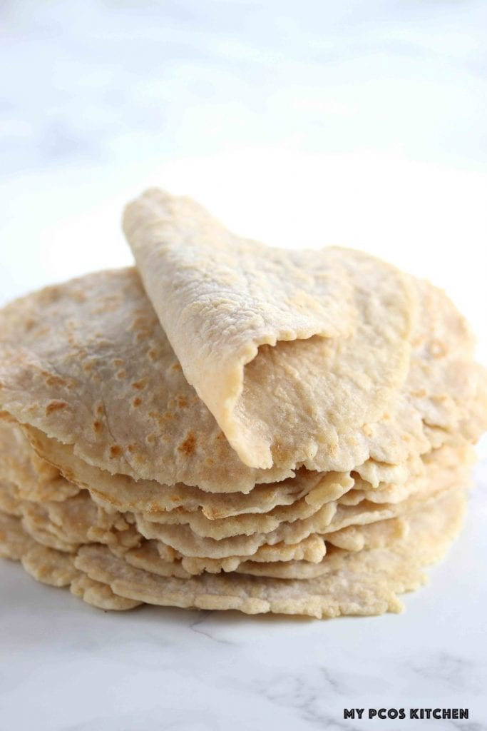 Low carb tortillas that super pliable and packed on top of one another.