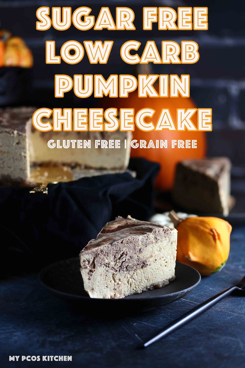 How to make a Sugar Free Low Carb Pumpkin Cheesecake - My PCOS Kitchen - This chocolate covered no bake pumpkin cheesecake is so fluffy and delicious! Perfect for the holidays! #pumpkincheesecake #lowcarbcheesecake #sugarfreecheesecake #lowcarbhalloween #lowcarbthanksgiving #sugarfree #lowcarb #keto #lchf #glutenfree #sugarfreeholidays