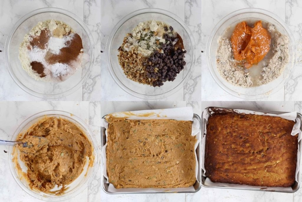 Step by step pictures showing how to make gluten free pumpkin bars.