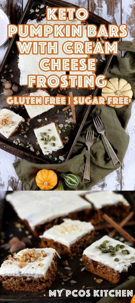 Low Carb Gluten Free Pumpkin Bars with Cream Cheese Frosting - My PCOS Kitchen - These amazing keto pumpkin bars are filled with sugar free chocolate chips, chopped nuts and seeds! All sugar free and gluten free! The perfect halloween treat! #pumpkinbars #pumpkincake #ketopumpkindessert #ketogenic #ketohalloween #lowcarbpumpkin #pumpkinrecipe #creamcheesefrosting