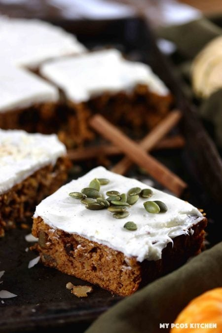 Healthy pumpkin bars filled with sugar free chocolate, chopped nuts and seeds.