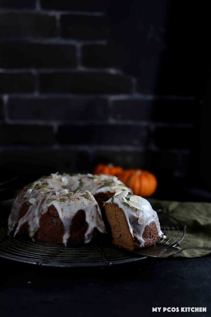 Photography of a pumpkin bundt cake recipe