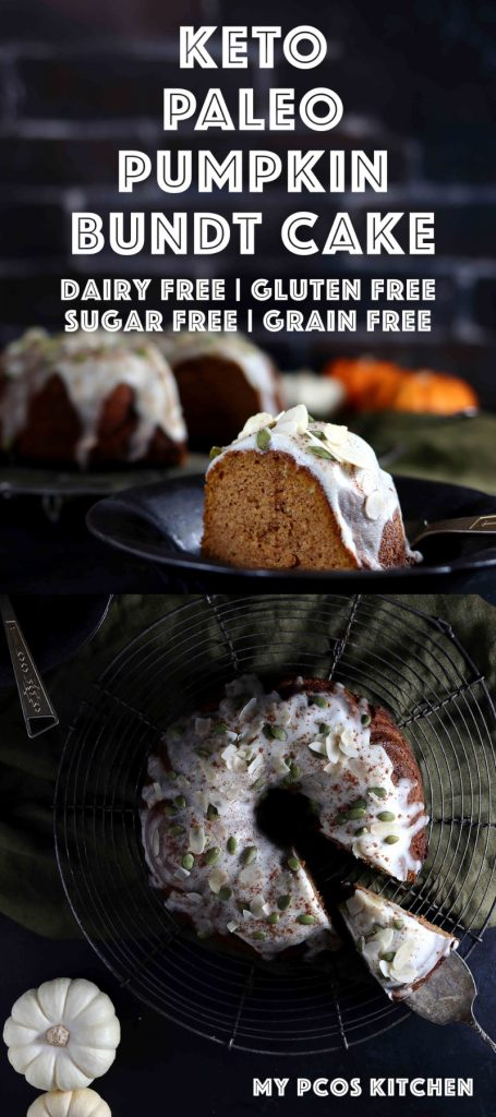 Keto Paleo Pumpkin Bundt Cake Recipe - My PCOS Kitchen - The best pumpkin cake you'll ever make and it's even gluten free, sugar free and dairy free! What else could you ask for? #pumpkincake #pumpkinbundtcake #lowcarbbaking #ketohalloween #sugarfreecake #ketocake #lowcarbcake #pumpkinrecipes