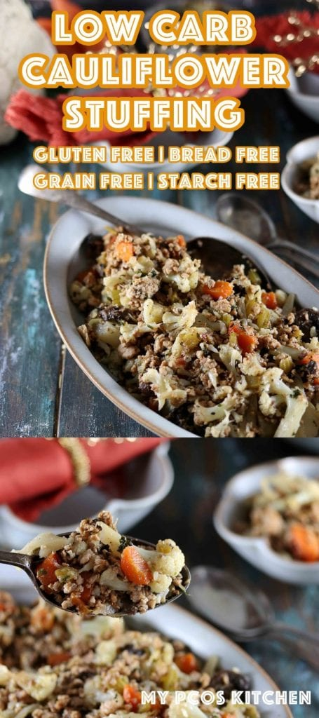Low Carb Keto Cauliflower Stuffing Recipe - My PCOS Kitchen - This delicious stove top stuffing is made with healthy cauliflower florets, fresh herbs and ground chicken! #thanksgivingstuffing #cauliflwoerstuffing #lowcarbstuffing #ketostuffing #ketothanksgiving #lowcarbthanksgiving #glutenfreestuffing #cauliflower #thanksgivingrecipes #lastminutethanksgiving