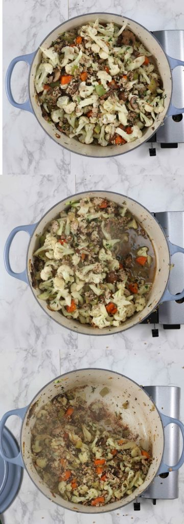 Pictures showing how to make a low carb stuffing recipe on the stove top.