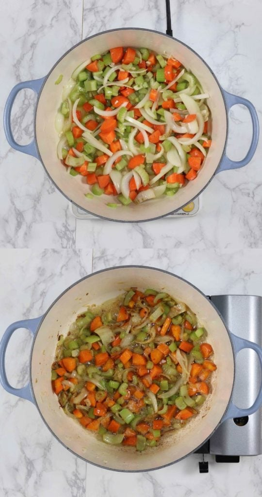 Pictures showing how to make a mirepoix.
