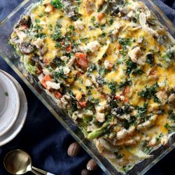 An overhead view of a turkey casserole in a glass dish.