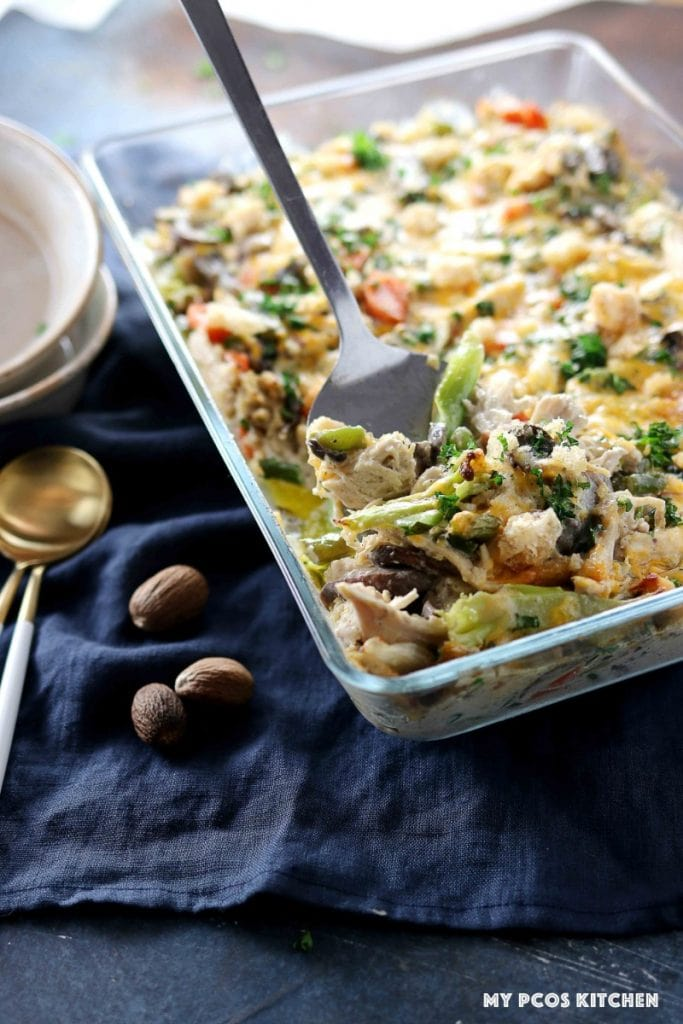 A glass casserole with some leftover turkey from thanksgiving.