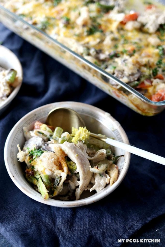 A serving bowl filled with some low carb turkey casserole.
