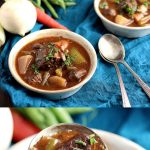 Low Carb Beef Stew in a Dutch Oven - My PCOS Kitchen - Fork tender pieces of beef in a rich and flavourful homemade broth, this low carb beef stew is the perfect healthy comfort food! #beefstew #boeufbourguignon #lowcarbstew #glutenfreebeefstew #ketobeefstew #paleobeefstew #dutchovenstew